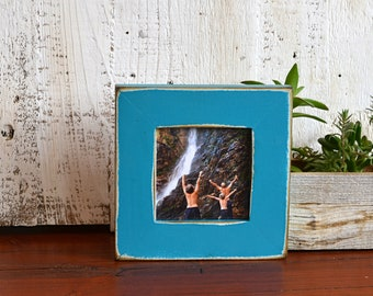 4x4 Square Picture Frame in 1.5 inch Standard Style with Super Vintage Turquoise Finish - IN STOCK - Same Day Shipping Frame Green 4 x 4""