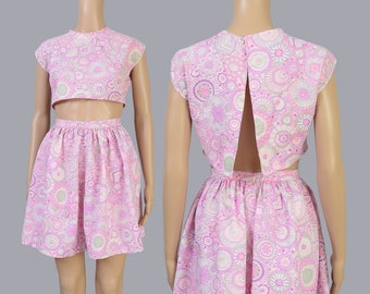 Vintage 60s Two Piece Set | Floral Playsuit | Mod Crop Top | High Waisted Full Mini Skirt | 2 Pc Outfit | Pink Purple | Extra Small XS S