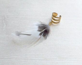 White  Feather Ear Cuff in Gold One of a kind