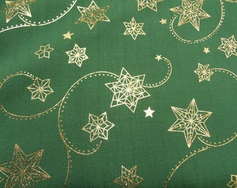 Christmas print cotton fabric - sparkling Green