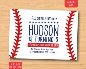 Baseball birthday invitation - SELF EDITABLE PDF - 5 x 7 inch Customisable Baseball Printable Birthday Party Invite - Instant Download