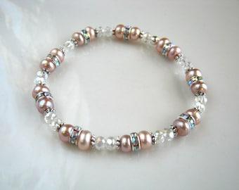 Mauve Pink Freshwater Pearl Stretch Bracelet Crystal and Mauve Pink Pearl Bridal Bracelet Pearl Wedding Bracelet