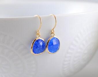 The Phoenix Anne Earrings - Cobalt/Gold
