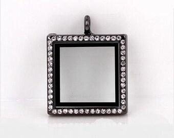 Square Floating Locket Black with Crystal Rhinestones Living Memory Lockets Jewelry Making Supplies - 60b