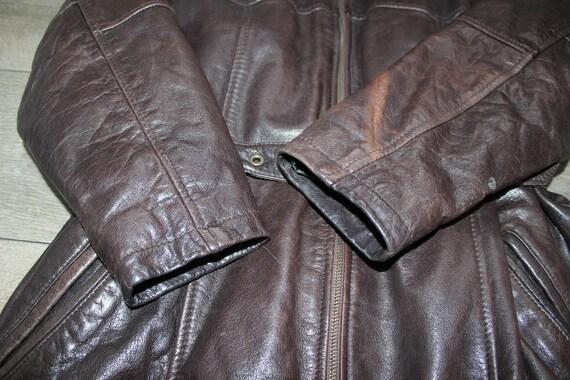 Size Vintage 100 UK14 Brown Leather Coat Jacket Real Women's Length Hip BIKER pRvvFqA