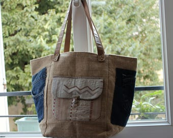 Tote bag canvas jute and recycled jeans