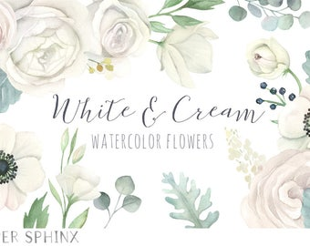 Watercolor White Flowers Clipart | White Wedding Florals - Dusty Miller, Roses, Anemone - Wedding Invitation Clip Art - Instant Download