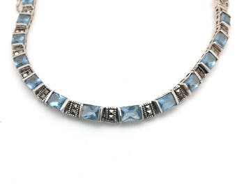 Sterling Silver and Marcasite Blue Cubic Zirconia Bracelet