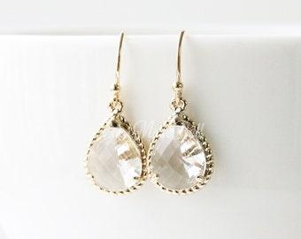 Gold clear earrings, Dangle earrings, Bridesmaid gift, Bridal earrings, Maid of honor gift, Wedding gift earrings, Wedding earrings,