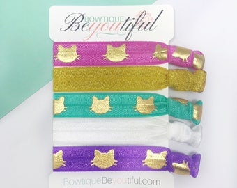 Cat Hair Ties - Hair Tie Bracelet - Elastic Hair Ties- Cat Hair Accessories - Hair Ties - Creaseless Ties - Gold Hair Ties - Hair tie set