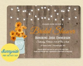 Orange Daisies Fall Bridal Shower Invitation - Printable Invite, Autumn, Rustic, Wood, Lights, Wedding Shower