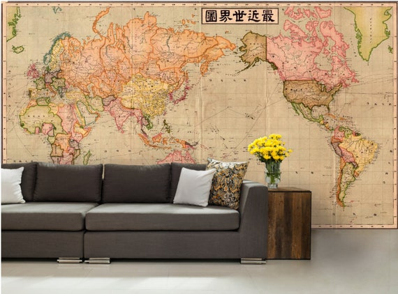 World map wall mural old map wallpaper vintage old map world map wall mural old map wallpaper vintage old map mural self adhesive vinly world map decal antique map wallpaper japanese map gumiabroncs Choice Image