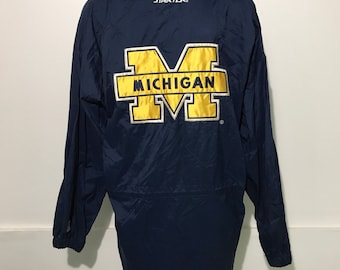 Vintage University Of Michigan Starter Long Jacket L