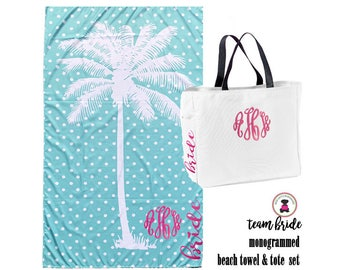 TEAM BRIDE Deluxe Gift Set - Monogrammed Palm Tree & Polka Dots  Beach Towel with Tote - Free Ship