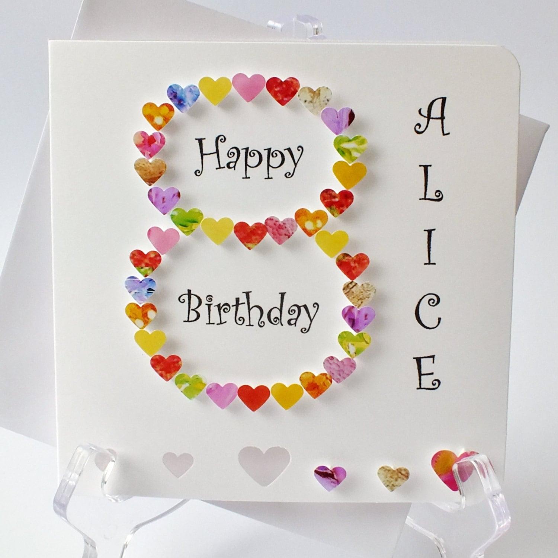 Handmade 3d 8 Card 8th Birthday Card Personalised