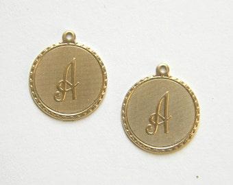 Raw Brass Letter A Charm Monogram Initial Drop 20m x 22mm - 4 pcs. (r256)