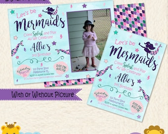Glitter Mermaid Invitation • Mermaid Birthday Invite • Under the Sea • Pool Beach Party • Glitter • Pink Blue Green Purple •Printable • 030C