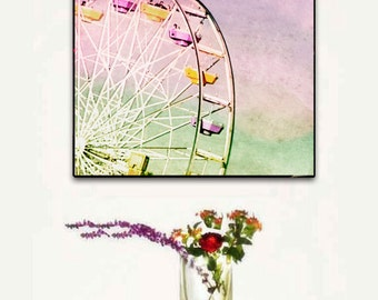 Ferris Wheel, Large Canvas Art. Large Canvas Pastel Wall Art, Santa Monica Ferris Wheel