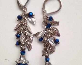 Teal Swarovski Crystal and Silver Earrings
