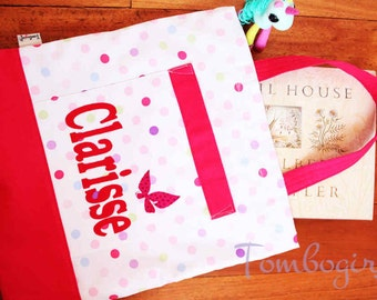 Kids library bag / girls birthday gift / lesson tote bag - Personalised / Customised name, Australian made, with pocket – Polka Dot