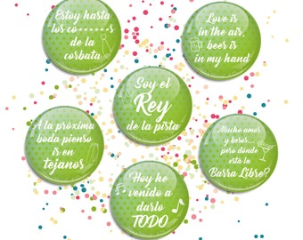 Chapas con frases para Boda / Pinback buttons for Wedding