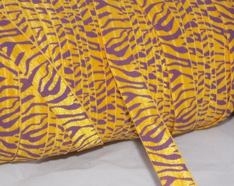 5 or 10 Yards PURPLE GOLD Tiger Print Fold Over Elastic Foe DiY Emi Jay Inspired Hair Ties - Material Yellow and Purple Zebra Accent LSU