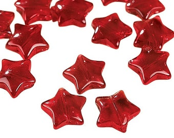 Red Star Beads, 11mm, pack of 25