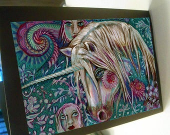 greeting card print of original art-  mythical unicorn