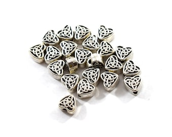 22 Pewter Celtic Heart Beads, Antique Silver Beads, Heart Beads, Celtic Beads, Silver Beads