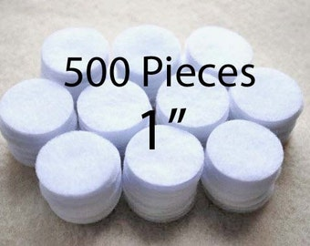 1 Inch Die Cut Felt Circles in White, Bulk Set of 500
