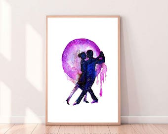 Tango Dancers,Argentine Dance Print, Watercolor Painting Tango Dancers, Instant Download, Poster Tango,Tango Couple printable wall art