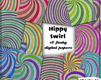 Hippy Swirls Printable Digital Papers - 16 1960s style Funky Backgrounds for Scrapbooking, Birthday Cards and much more