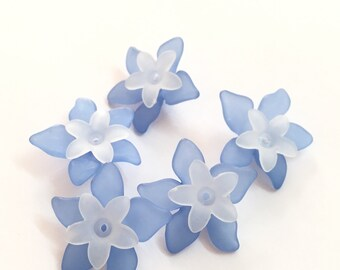 Lucite Acrylic Beads 24 pcs, Frosted, Dyed, Flower, acrylic flower beads 27x29mm, 17x16.5mm lucite flower beads, acrylic flowers blue white