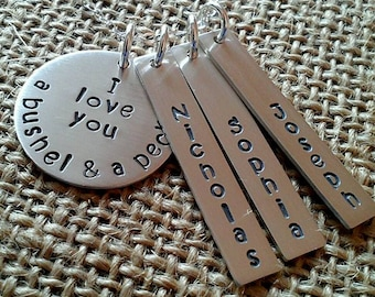 I Love You a Bushel and a Peck Name Necklace, Personalized Grandma Necklace from Grandkids, Mom Necklace With Kids Names, 925 Name Necklace