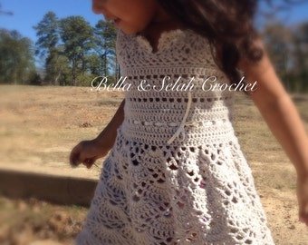 Crochet dress for little girl, Crochet dress for toddler, Flower girl dress, Rustic wedding flower girl, Crochet dress for birthday