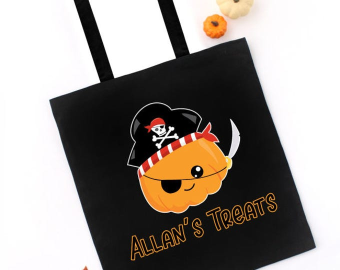 Halloween Trick or Treat Tote Bag, Pumpkin Pirate, CUSTOM NAME on Tote, Candy Treat Bag