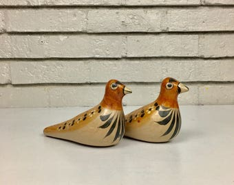 Vintage Pair of Mexican Tolona Pottery Ceramic Folk Art Hand Painted Birds