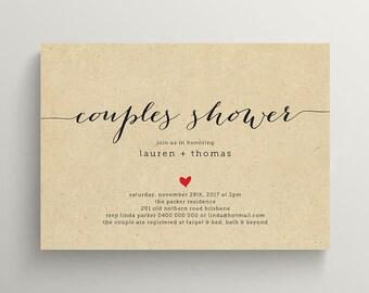 Printable Couples Shower Invitation \ Kraft Invite  (BR82)