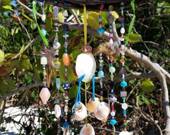 Beaded Sun Catcher / Coastal / Driftwood / Shells / Feathers / Window Jewelry / Home Decor
