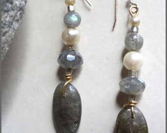 Vintage Pearl and Labradorite Dangle Earrings