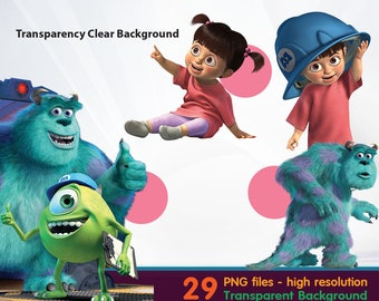 monster INC clipart -  Digital 300 DPI PNG Images, Photos, Scrapbook, Cliparts - Instant Download
