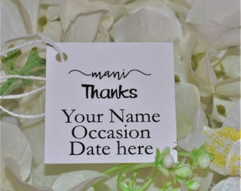 Mani Thanks Tags, Mini Shower Favor tags, Nail Polish Bottle Thanks Tags, Custom Printed Thank You Favor, Baby Shower/Bridal Shower
