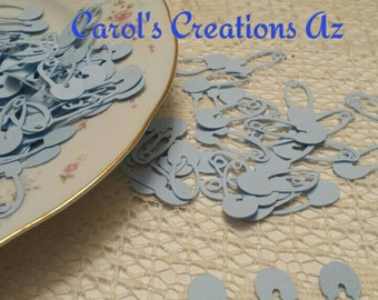150 Baby Blue Safety Pins / Baby Shower Die Cuts / Baby Shower Confetti / Scrapbook Embellishments / Baby Confetti / ANY COLOR Available