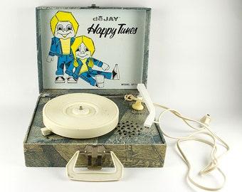 Vintage Kids Child's Portable Record Player Dejay Happy Tunes Denim Blue Jeans WORKS