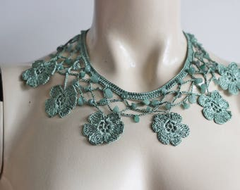 Sage Necklace-Crochet Necklace-Turkish Oya necklace with Jade Stones -Daisy Necklace