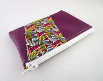 Plum leather wallet and graphic design fabric