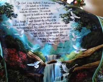 Inspirational Quilt that fold into a pillow or make it a wall hanging! Beautiful peaceful waterfall with words of Psalm 23 on it.