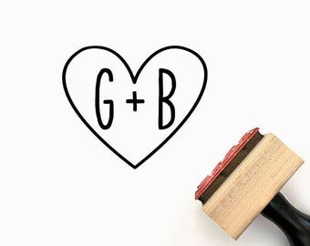 Custom Wedding Initials Heart Pre-Designed Rubber Stamp - Branding, Packaging, Party, Invitations, Tags, Wedding - W002