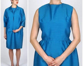 Vintage Two Piece 1960s Mod Blue Silk Wool Dress w/ Matching Cropped Jacket by Fred Rothschild | Large
