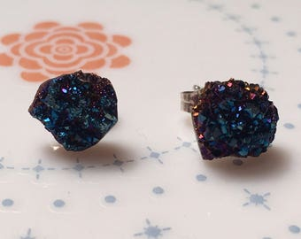 Blue and Purple Druzy Earrings